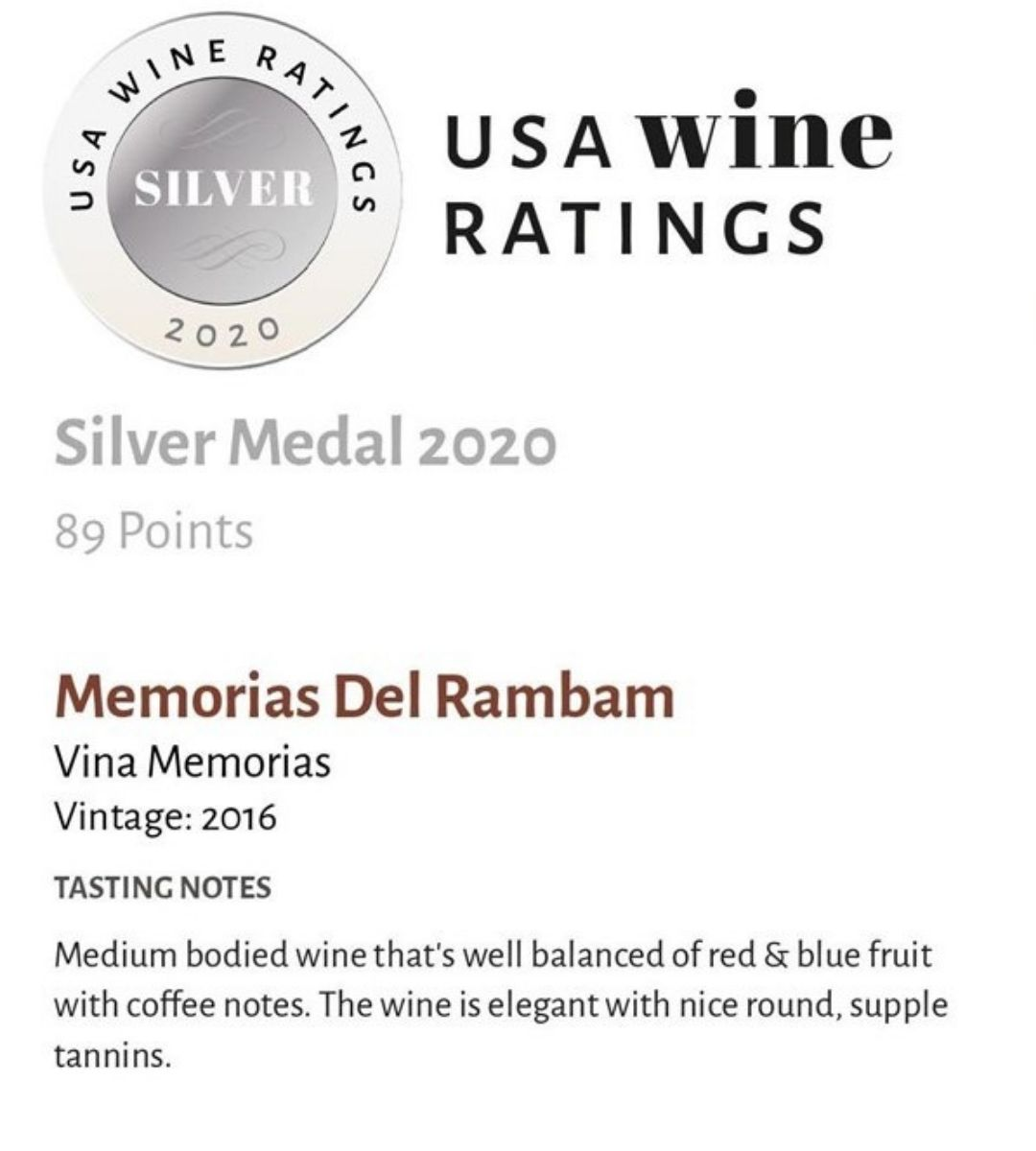 Memorias del Rambam Silver Medal USA Wine Ratings
