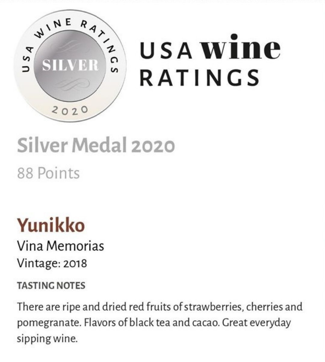 Yunikko Silver Medal USA Wine Ratings