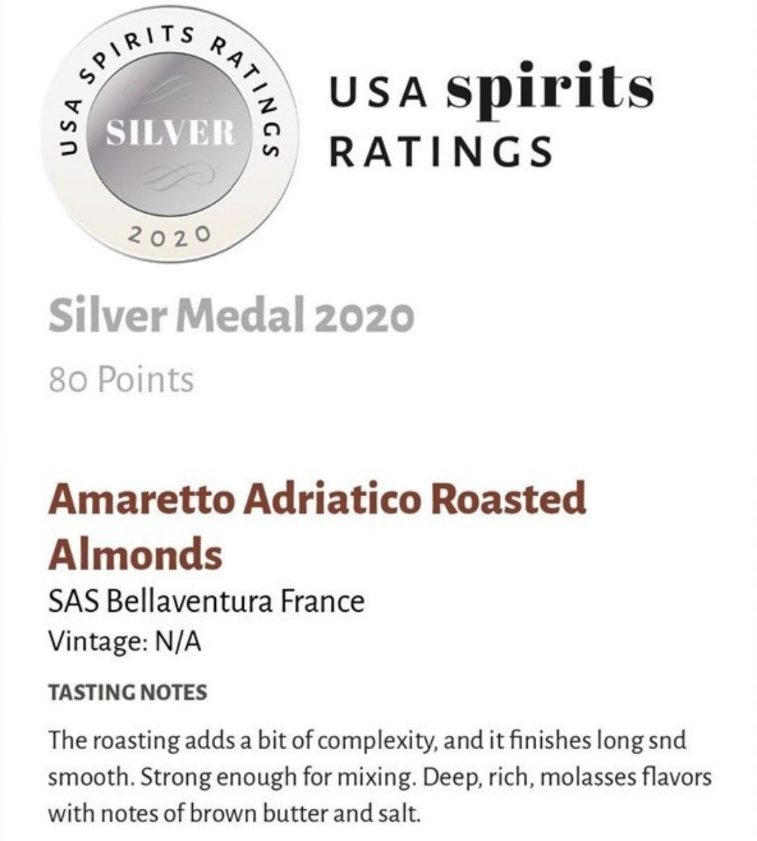 Amaretto Adriatico Roasted Almonds Silver Medal USA Spirits Ratings