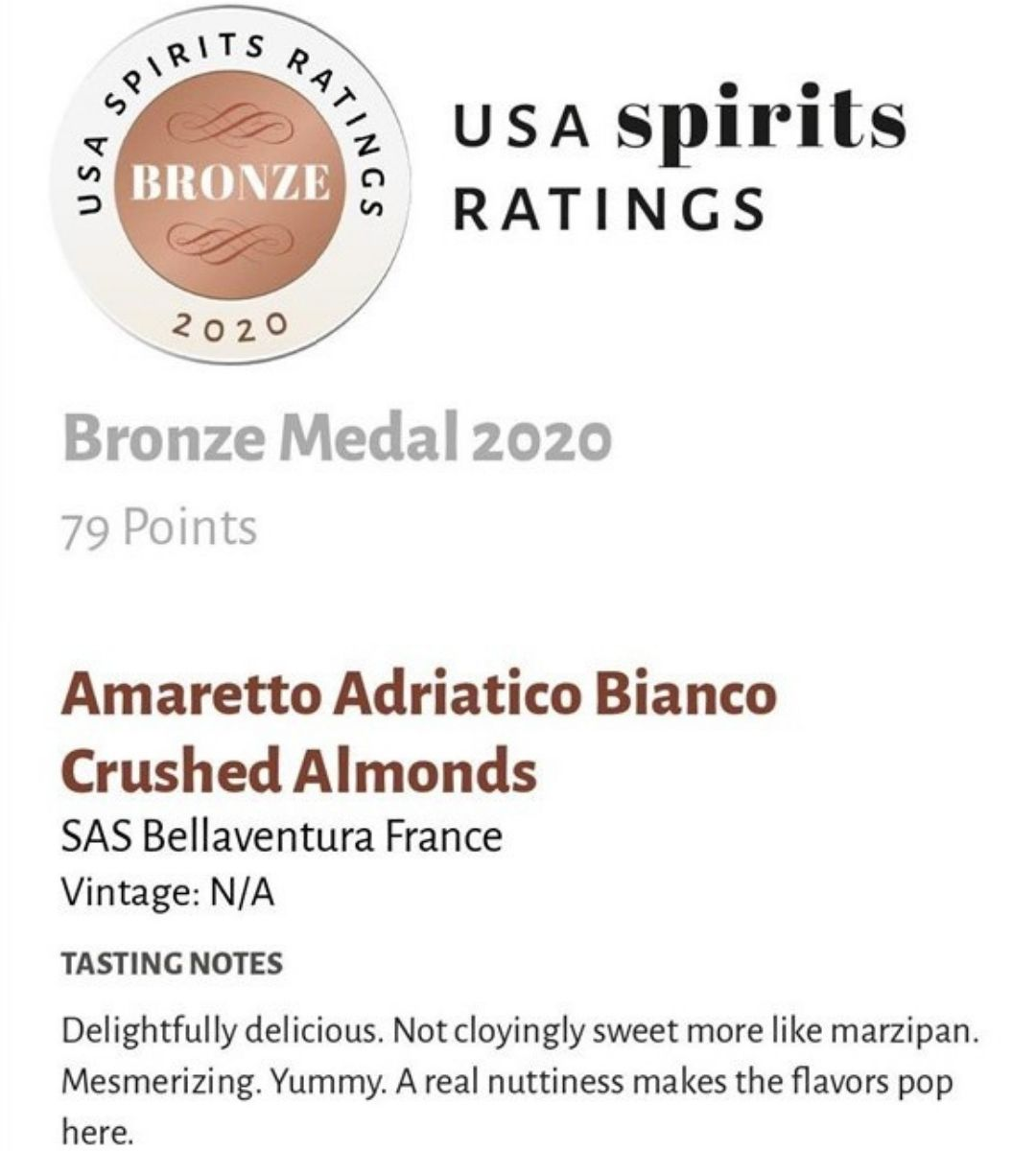 Amaretto Adriatico Bianco Crushed Almonds Bronze Medal USA Spirits Ratings