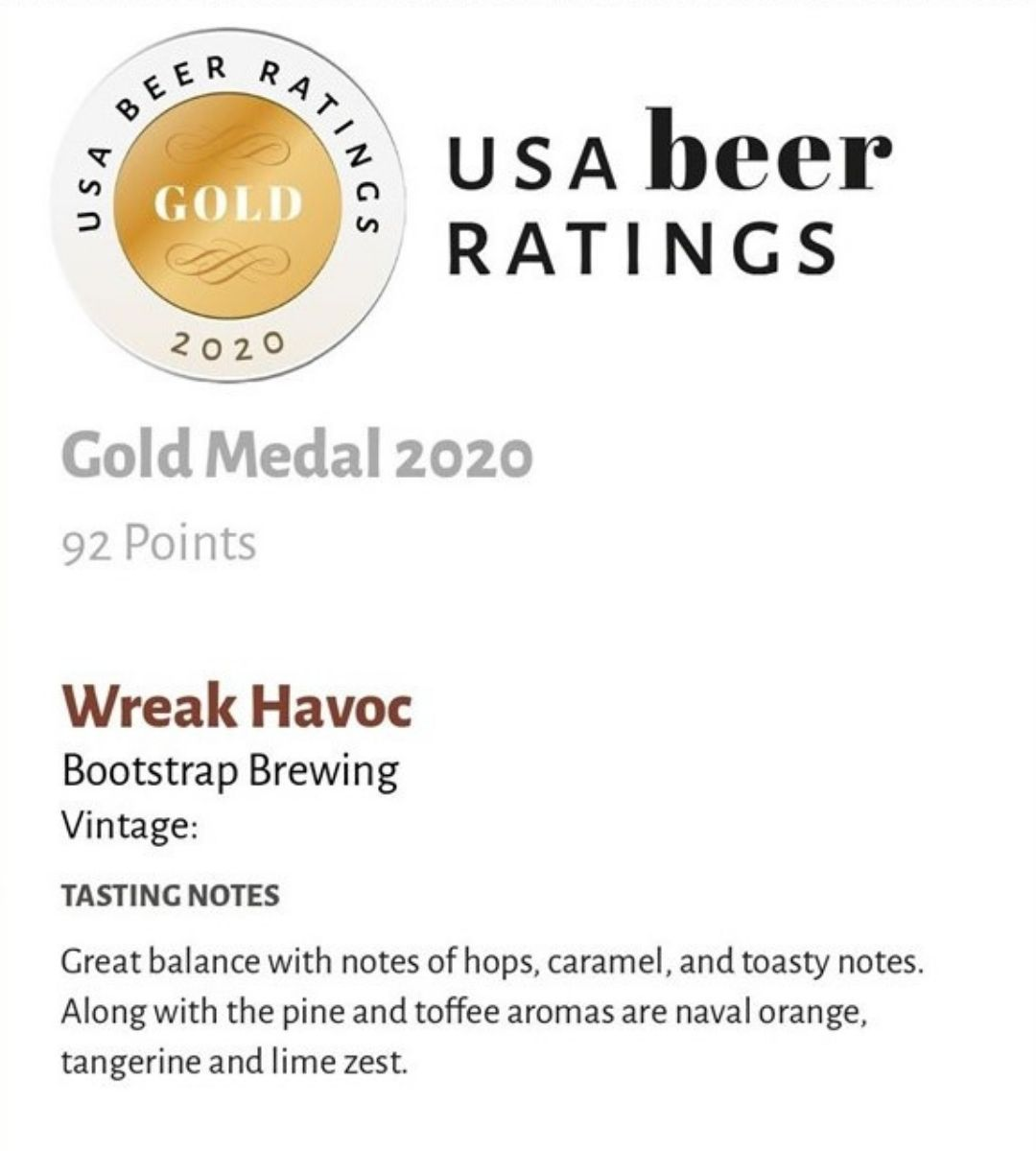 Wreak Havoc Gold Medal USA Beer Ratings
