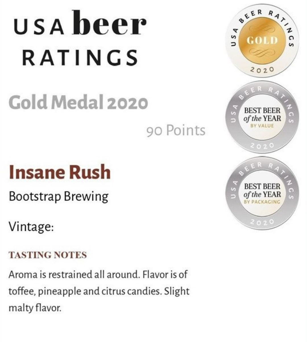 Insane Rush Gold Medal USA Beer Ratings