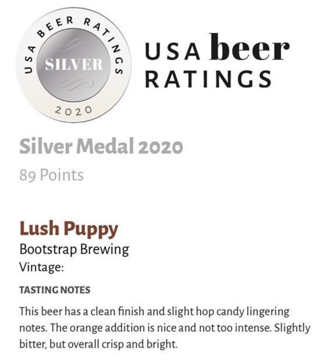 Lush Puppy Silver Medal USA Beer Ratings