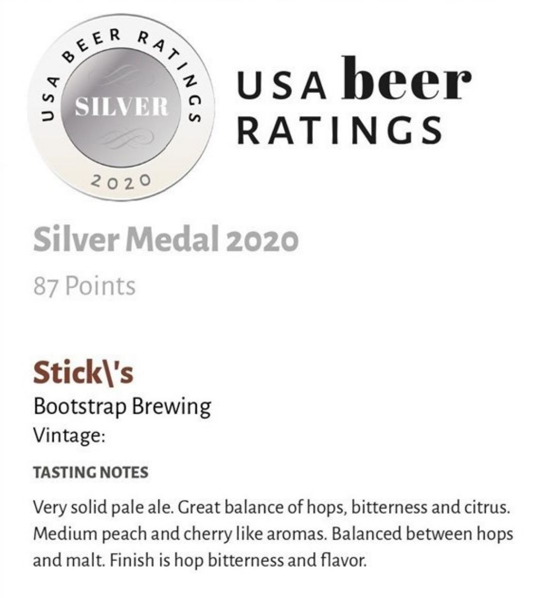 Stick's Silver Medal USA Beer Ratings
