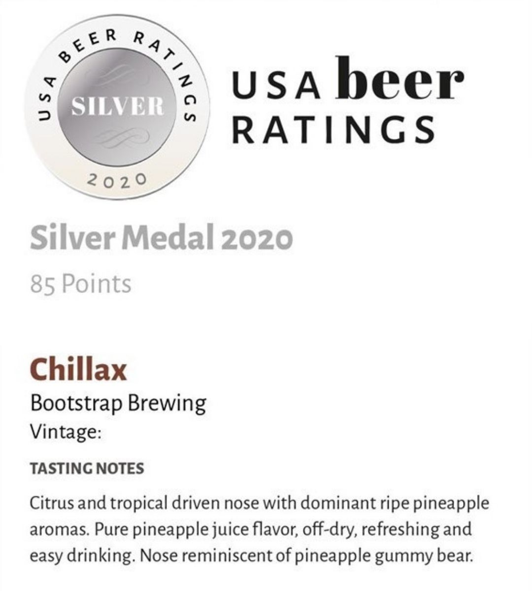 Chillax Silver Medal USA Beer Ratings